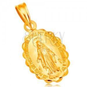Zawieszka z żółtego 14K złota - owalny medalik z Maryją Panną, dwustronny obraz