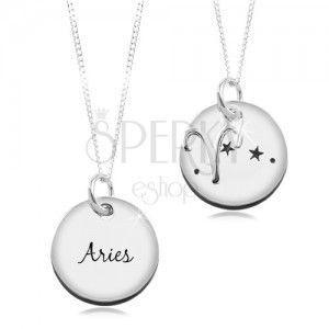 Naszyjnik ze srebra 925, okrągła zawieszka i łańcuszek, znak zodiaku BARAN obraz