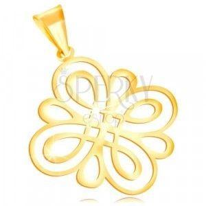 Zawieszka z żółtego złota 585 - błyszczący płaski ornament z okrągłych pętli obraz