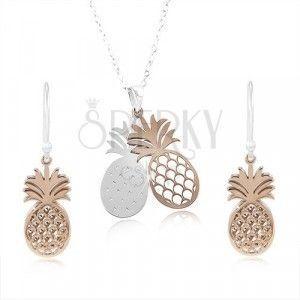 Srebrny zestaw 925, podwójny ananas w odcieniu srebra i miedzi obraz