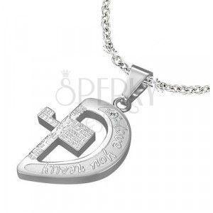 Stalowa zawieszka w srebrnym kolorze, pół serca z krzyżem i napisami obraz