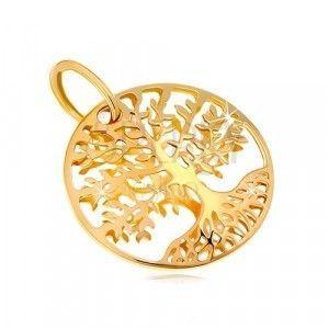 Zawieszka z żółtego złota 585 - kółko z rzeźbionym drzewem życia obraz