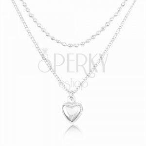 Srebrny 925 naszyjnik, podwójny łańcuszek, wypukłe serce i małe kuleczki obraz
