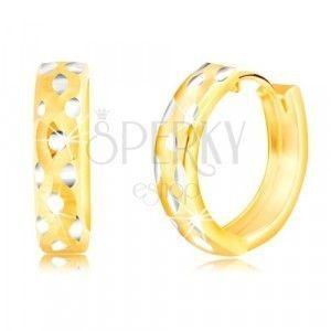 Okrągłe kolczyki z kombinowanego złota 14K, wzór kropek obraz