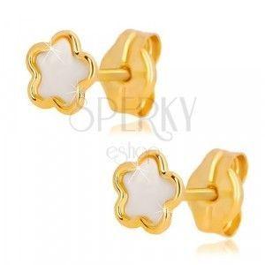 Kolczyki z żółtego 14K złota - kwiatek z naturalną masą perłową, sztyfty obraz