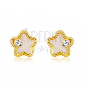 Złote kolczyki 585 - gwiazda z białą naturalną perłą i przezroczystą cyrkonią obraz