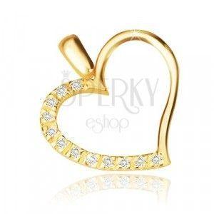Zawieszka z żółtego 14K złota - zarys asymetrycznego serca, błyszcząca cyrkoniowa połowa obraz