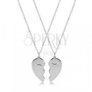 Zestaw ze srebra 925 - dwa naszyjniki, połówki serca z mrugającymi oczami obraz
