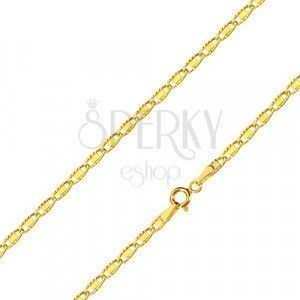 Łańcuszek z żółtego złota 585 - lśniące owalne oczka z gładkim prostokącikiem, 550 mm obraz
