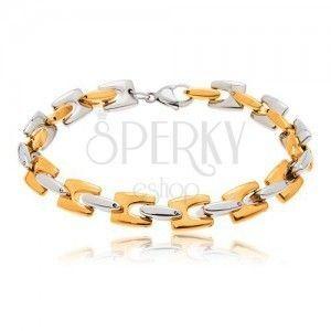 Stalowa bransoletka, lśniące ogniwa H złotego i srebrnego koloru obraz