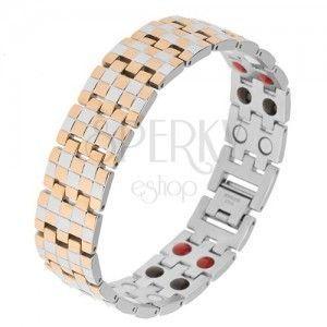 Błyszcząca bransoletka ze stali, złoty i srebrny kolor, wzór szachownicy, magnesy obraz