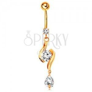 Złoty 375 piercing do pępka - dwie lśniące fale z cyrkonią w środku i łza obraz