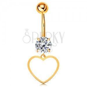 Złoty 9K piercing do brzucha - bezbarwna cyrkonia, cienki zarys symetrycznego serduszka obraz