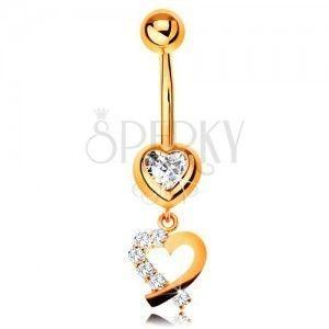 Złoty 9K piercing do brzucha - cyrkoniowe serce, zarys serduszka z błyszczącą połową obraz