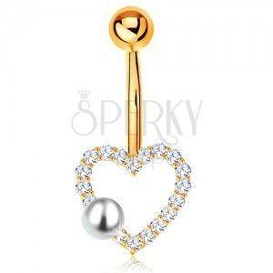 Złoty 375 piercing do brzucha - banan z kuleczką, cyrkoniowy zarys serduszka, perła obraz