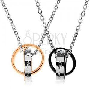 Dwa stalowe naszyjniki, dwukolorowe połączone pierścienie, napisy, cyrkonie obraz