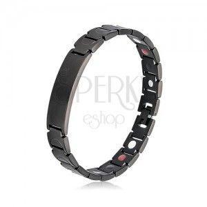 Stalowa bransoleta czarnego koloru, matowe Y ogniwa, płytka, magnesy obraz