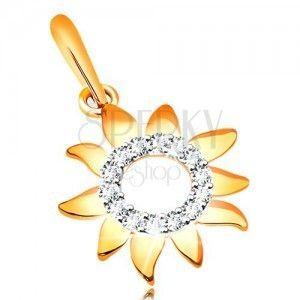 Zawieszka z żółtego złota 585, lśniące słońce z błyszczącym bezbarwnym kręgiem obraz