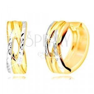 Okrągłe kolczyki wykonane z kombinowanego złota 585 - spleciony wzór, wąski wycięcie obraz