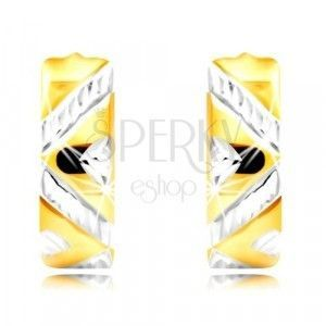 Kolczyki z kombinowanego 14K złota - szerszy pasek z zygzakowatym wzorem, wycięcia obraz