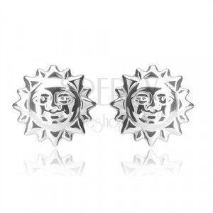 Srebrne kolczyki 925 - uśmiechnięte słoneczko z wyciętymi promieniami, sztyfty obraz