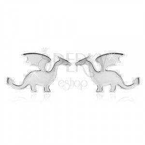 Kolczyki ze srebra 925 - motyw smoka, błyszczące wykończenie, sztyfty obraz