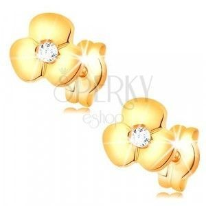 Złote kolczyki 585 - błyszczący kwiatek z przezroczystą cyrkonią na środku, sztyfty obraz