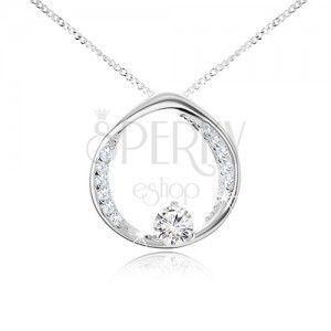 Naszyjnik- łańcuszek i kółeczko z okrągłą przeźroczystą cyrkonią, srebro 925 obraz