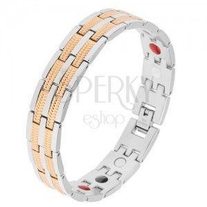 Magnetyczna stalowa bransoletka, ogniwa w srebrnym i złotym kolorze, kolorowe kuleczki obraz