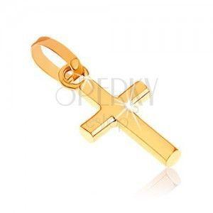 Lśniący wisiorek z żółtego złota 375, mały krzyż łaciński obraz
