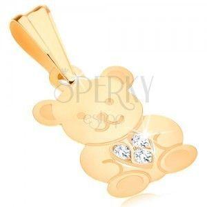 Zawieszka w żółtym 9K złocie - lśniący miś, błyszczące serduszko obraz