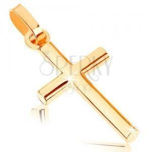 Zawieszka z żółtego 9K złota - mały łaciński krzyż, gładka lśniąca powierzchnia obraz
