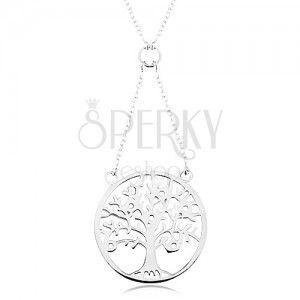 Naszyjnik ze srebra 925, łańcuszek i zawieszka - drzewo życia ozdobione cyrkoniami obraz
