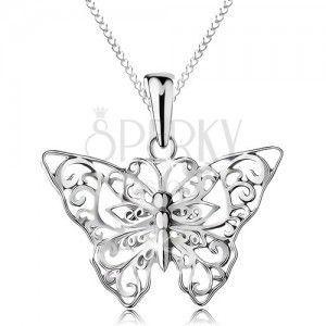 Srebrny 925 naszyjnik, motylek z wyciętymi ornamentami, łańcuszek obraz