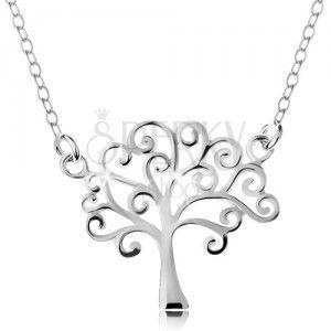 Srebrny naszyjnik 925, cienki łańcuszek i zawieszka - lśniące drzewo życia obraz
