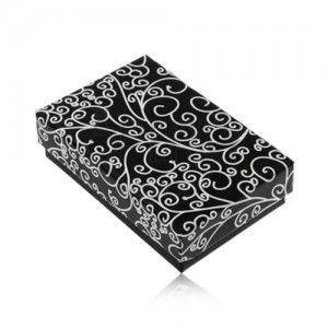 Upominkowe pudełeczko na zestaw lub naszyjnik - czarny z białym wzorem ornamentów obraz