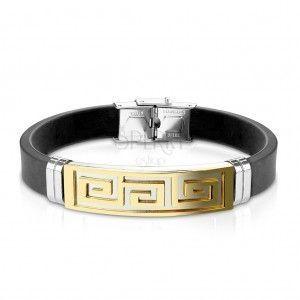 Bransoletka z czarnej gumy, stalowa płytka z geckim kluczem złotego koloru obraz