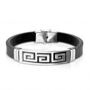 Stalowo - gumowa bransoletka, płytka z greckim kluczem czarnego koloru obraz