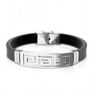 Bransoletka z czarnej gumy, stalowa płytka z greckim kluczem srebrnego koloru obraz
