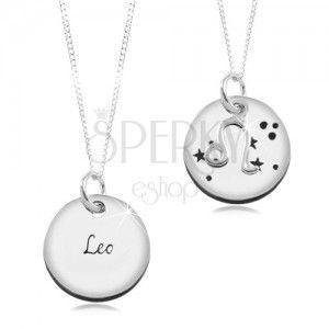 Naszyjnik ze srebra 925, okrągła zawieszka i łańcuszek, znak zodiaku LEW obraz