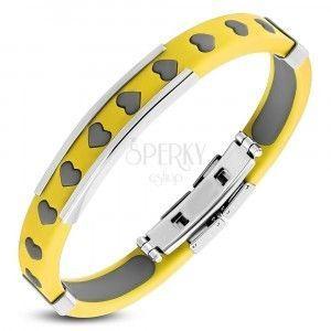 Żółta gumowa bransoletka - serduszka, szare wypełnienie, stalowy znaczek obraz