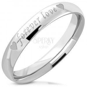 """Srebrny stalowy pierścień - błyszczące wykończenie, matowy napis """"forever love"""", 3, 5 mm obraz"""