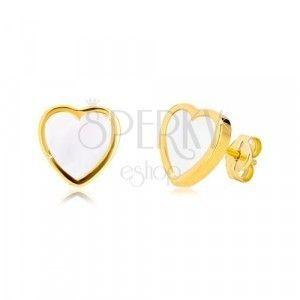 Kolczyki z żółtego 14K złota - kontur symetrycznego serca z naturalną masą perłową obraz