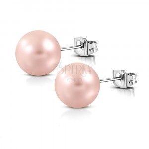 Stalowe kolczyki - matowa sztuczna perła o kolorze brzoskwiniowym, zapięcie na sztyft obraz