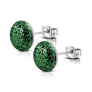 Stalowe kolczyki - okrąg z brokatem w kolorze zielonym, zapięcie na sztyft obraz