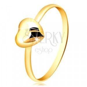 Pierścionek z żółtego złota 375 - wąski pierścionek i regularne lustrzano lśniące serce obraz