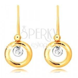 Kolczyki z 9K złota - okrąg z żółtego złota, oprawa z białego złota i cyrkonia obraz