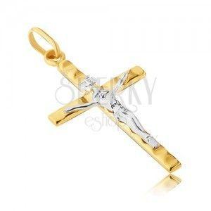 Zawieszka ze złota 585 - Jezus w białym złocie, krzyż z żółtego złota z wypustkami obraz