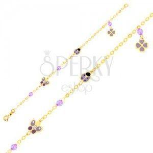 Bransoletka z żółtego złota 9K - emaliowany motyl, biedronka, czterolistna koniczyna, kulki, łańcuszek obraz