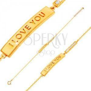 Złota bransoletka 585 - lśniący wąski pas z napisem I LOVE YOU i bezbarwna cyrkoniowa linia obraz